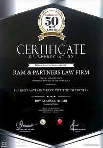 Kantor Pengacara RAM  Mendapat Penghargaan Indonesia 50 Best Lawyer Award 2019