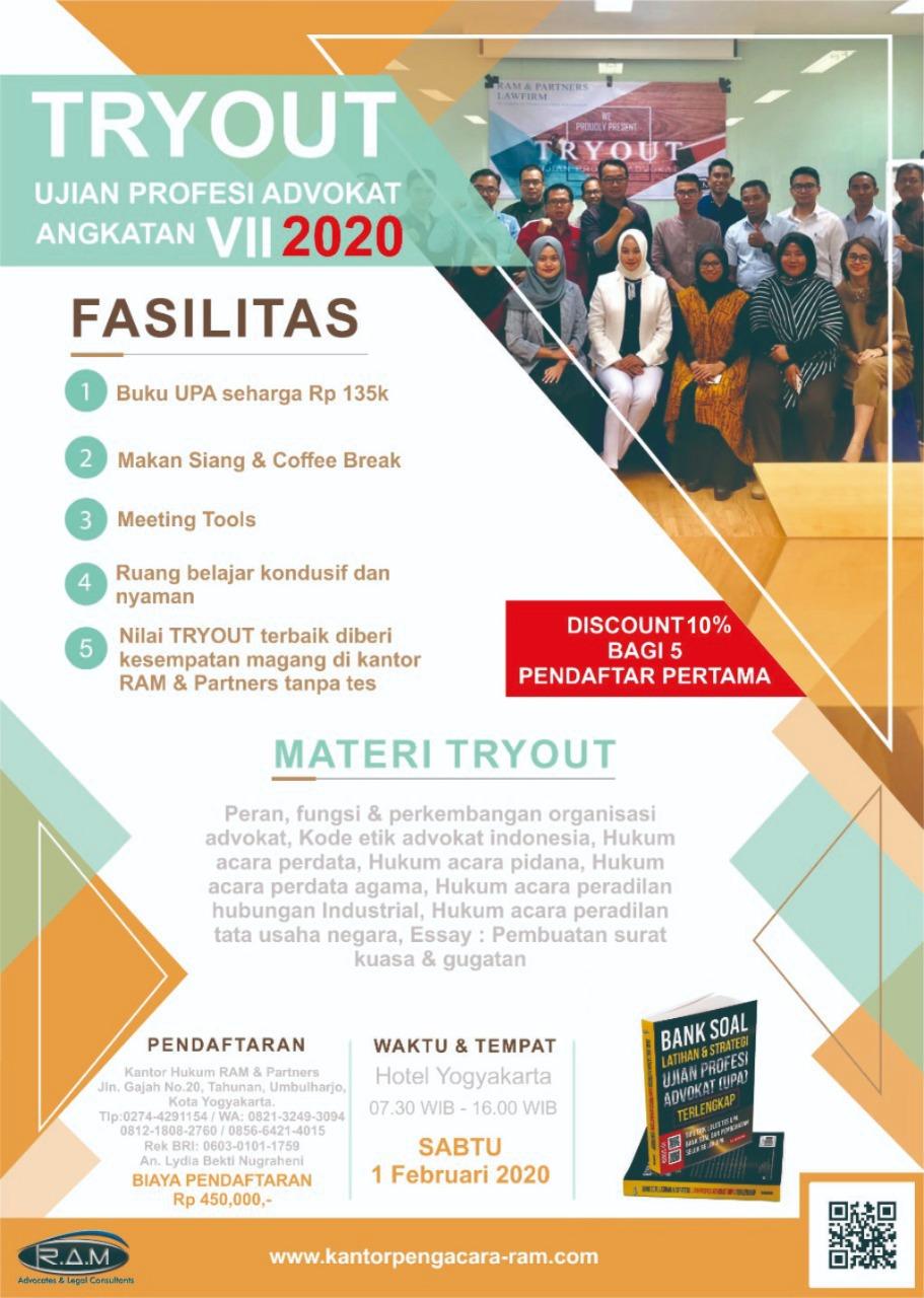 Tryout Ujian Profesi Advokat (UPA) 2020 di Kota Jogja / Yogyakarta