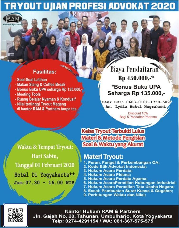 Try Out Ujian Profesi Advokat (UPA) Jogja / Yogyakarta